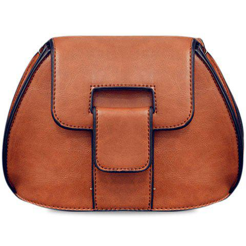 Stylish PU Leather and Solid Colour Design Women's Crossbody Bag - BROWN