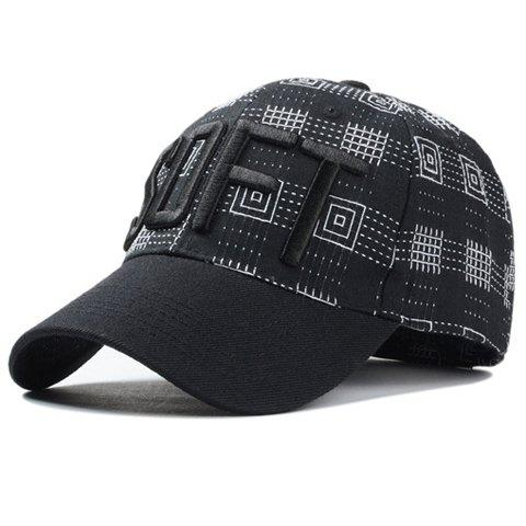 Stylish Letter Embroidery Plaid and Dash Line Pattern Men's Baseball Cap - BLACK