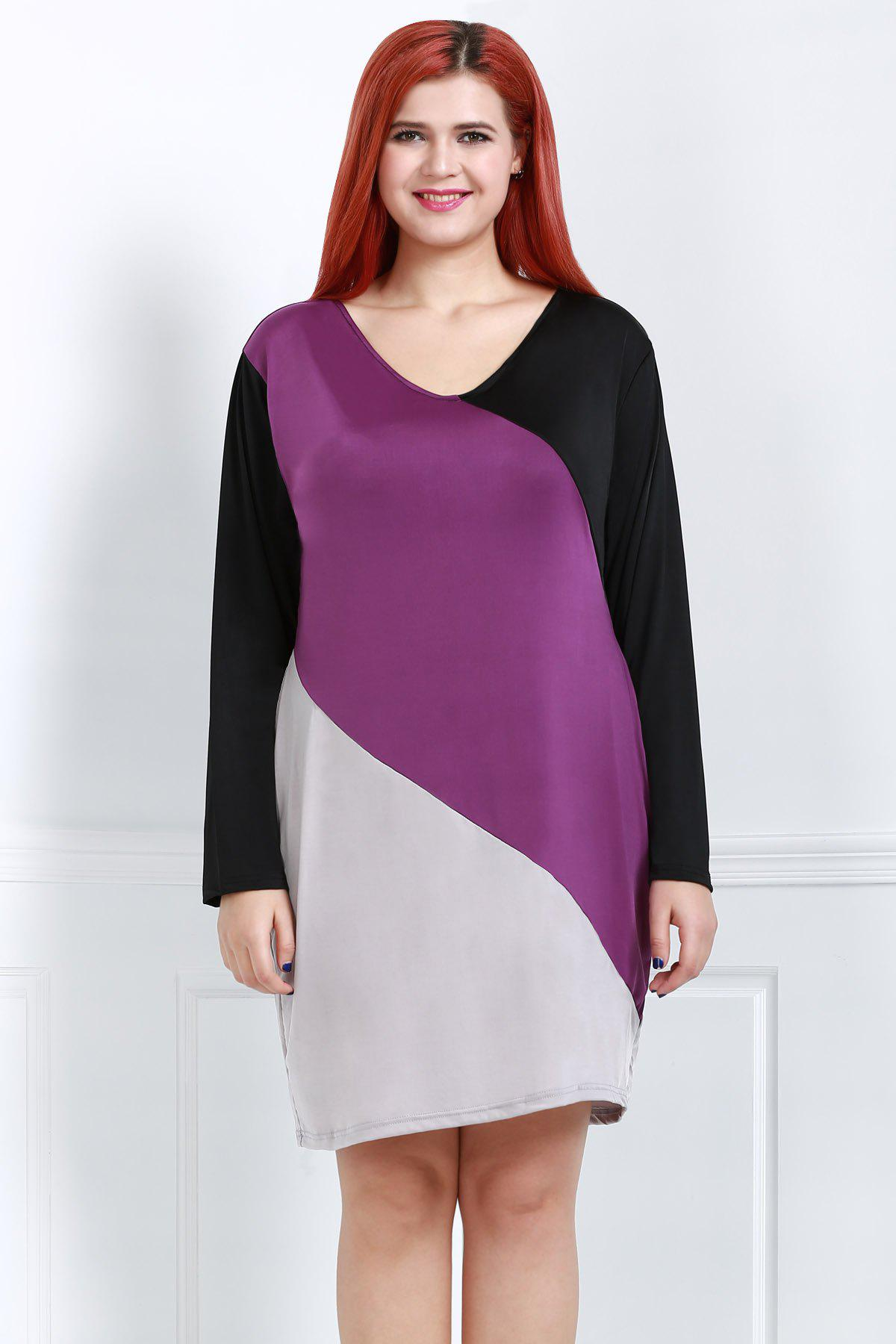 Stylish V-Neck Long Sleeve Plus Size Color Block Women's Dress