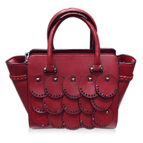 Trendy Solid Colour and Rivets Design Women's Tote Bag - WINE RED
