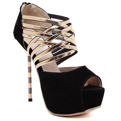 Sweet Stiletto Heel and Peep Toe Design Pumps For Women - BLACK 38