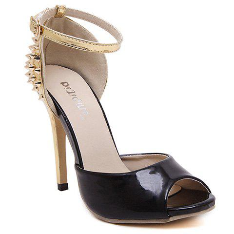 Trendy Rivets and Color Block Design Pumps For Women - BLACK 37