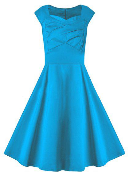 Vintage Sleeveless Sweetheart Neck Pure Color Women's Dress - LAKE BLUE S