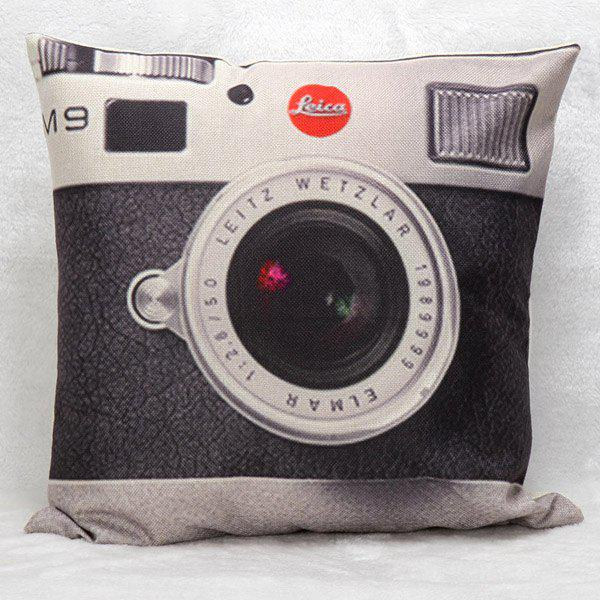High Quality Camera Printed Pattern Square Shape Pillow Case(Without Pillow Inner) - BLACK