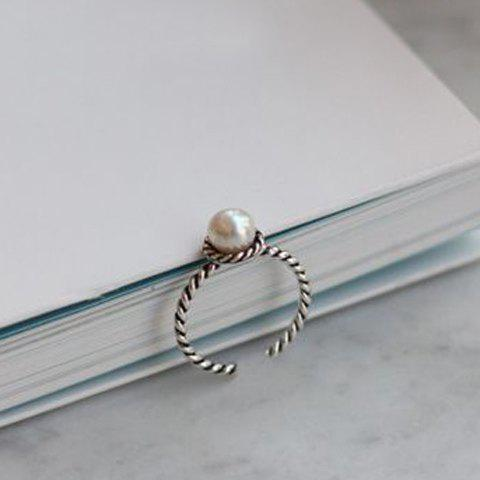 Faux Pearl Twisted Cuff Ring - WHITE ONE-SIZE