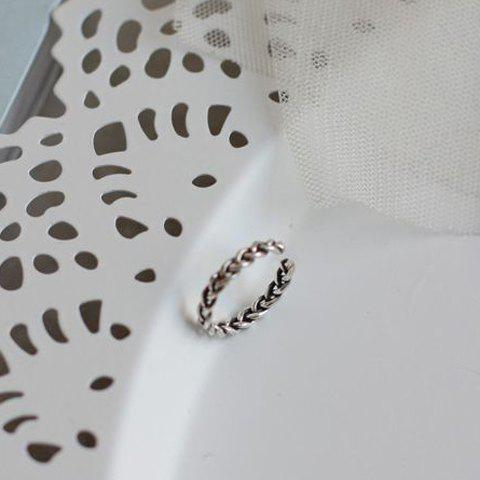 Chic Woven Twisted Cuff Ring For Women - SILVER ONE-SIZE