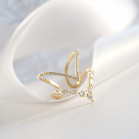 Rhinestoned Double Layered Arrow Shape Cuff Ring - CHAMPAGNE GOLD ONE-SIZE