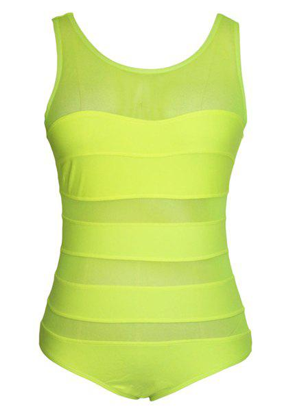 Sexy Style High Neck Solid Color See-Through One-Piece Women's Swimsuit - FLUORESCENT YELLOW S