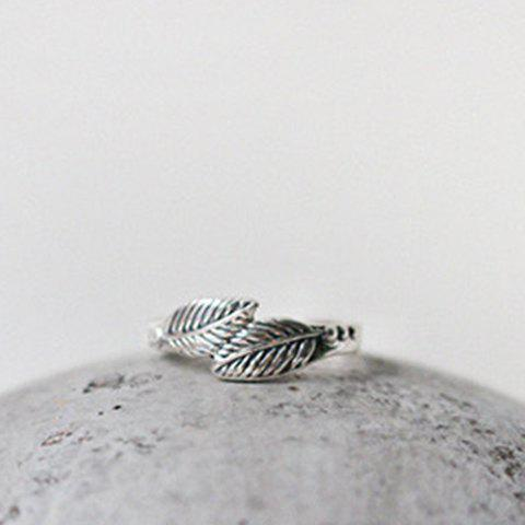 Chic Feather Cuff Ring For Women - SILVER ONE-SIZE