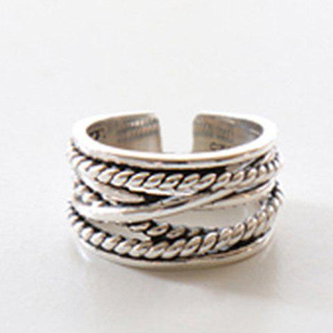 Vintage Twisted Chain Ring For Women - SILVER ONE-SIZE