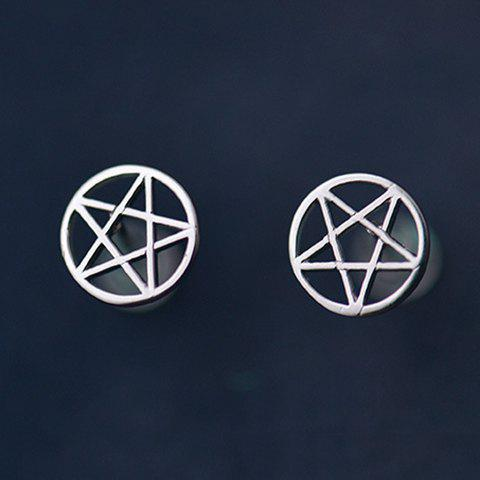 Pair of Cute Pentagram Round Hollow Out Earrings For Women - SILVER