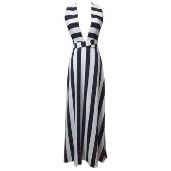 Sexy Style Plunging Neck Sleeveless Striped Women's Maxi Dress