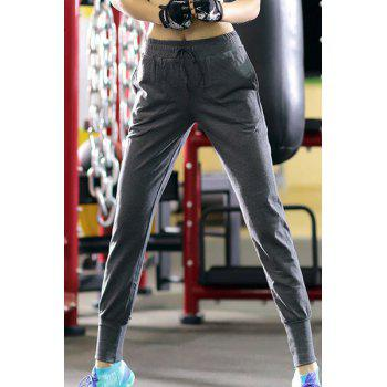 Chic Pocket Design Solid Color Drawstring Women's Pants