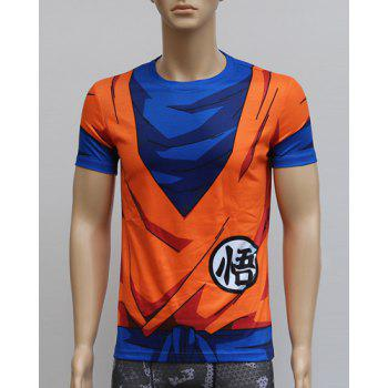 Color Block 3D Dragonball Print Round Neck Short Sleeves Men's Sweat Dry Tight T-Shirt