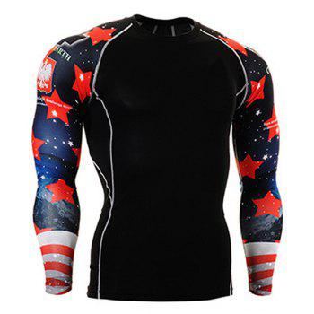 Color Block 3D Starry Sky Print Round Neck Long Sleeves Men's Sweat Dry Tight T-Shirt
