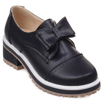 Trendy Bow and Engraving Design Women's Pumps - BLACK 38