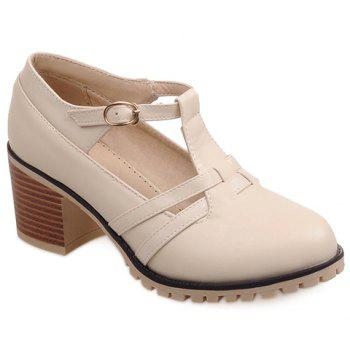 Casual Hollow Out and Chunky Heel Design Women's Pumps - OFF-WHITE 38