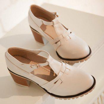 Casual Hollow Out and Chunky Heel Design Women's Pumps - 39 39