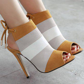 Stylish Color Block and Peep Toe Design Women's Sandals - BROWN 38