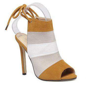 Stylish Color Block and Peep Toe Design Women's Sandals