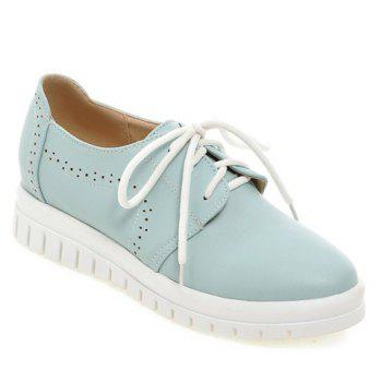 Casual Lace-Up and Solid Color Design Women's Flat Shoes - BLUE 38