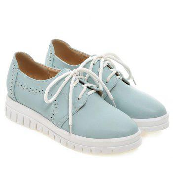 Casual Lace-Up and Solid Color Design Women's Flat Shoes - 38 38