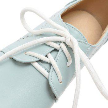 Casual Lace-Up and Solid Color Design Women's Flat Shoes - BLUE BLUE