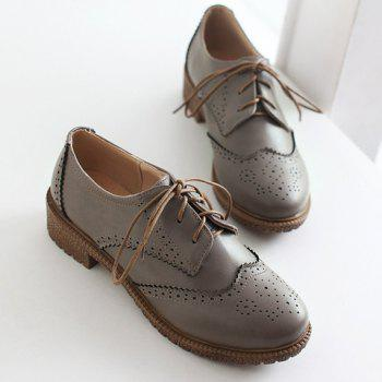 Vintage Engraving and Lace-Up Design Women's Flat Shoes - 38 38