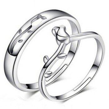 Pair of Alloy Rose Floral Ring For Lovers