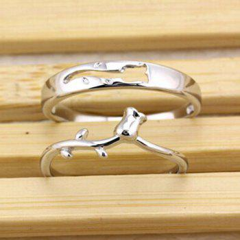 Pair of Alloy Rose Floral Ring For Lovers - SILVER ONE-SIZE