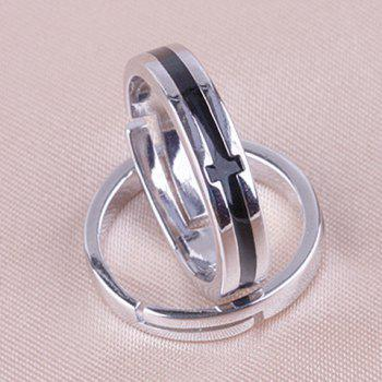 Pair of Punk Style Alloy Cross Ring For Lovers - WHITE/BLACK ONE-SIZE