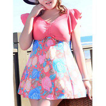 Cute Women's V-Neck Flower Print Short Sleeve Swimsuit