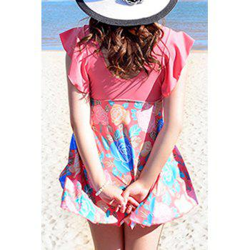 Cute Women's V-Neck Flower Print Short Sleeve Swimsuit - WATERMELON RED WATERMELON RED