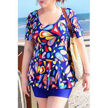 Sweet Women's U-Neck Geometrical Print Short Sleeve Swimsuit - SAPPHIRE BLUE 5XL