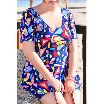 Sweet Women's U-Neck Geometrical Print Short Sleeve Swimsuit - SAPPHIRE BLUE SAPPHIRE BLUE
