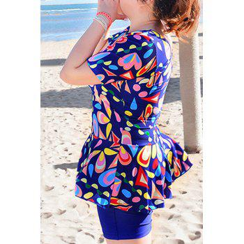 Sweet Women's U-Neck Geometrical Print Short Sleeve Swimsuit - 6XL 6XL