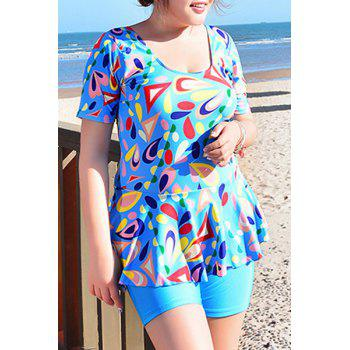 Sweet Women's U-Neck Geometrical Print Short Sleeve Swimsuit - 3XL 3XL