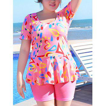 Sweet Women's U-Neck Geometrical Print Short Sleeve Swimsuit - PINK 3XL