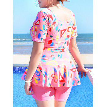 Sweet Women's U-Neck Geometrical Print Short Sleeve Swimsuit - PINK PINK