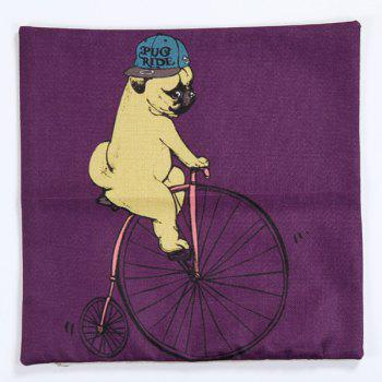 High Quality Puppy Riding Bicycle Pattern Square Shape Pillow Case(Without Pillow Inner) - COLORMIX