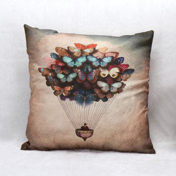 High Quality Butterfly Air Balloon Pattern Square Shape Pillow Case(Without Pillow Inner)