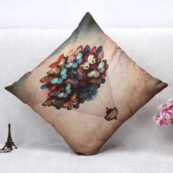 High Quality Butterfly Air Balloon Pattern Square Shape Pillow Case(Without Pillow Inner) - COLORMIX
