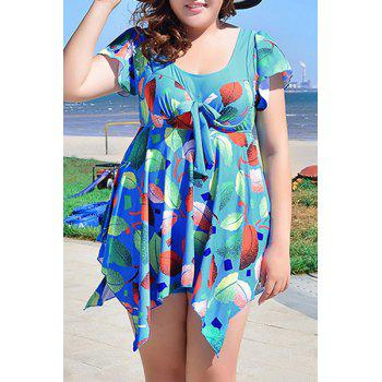 Chic Women's Scoop Neck Leaves Print Short Sleeve Swimsuit - BLUE 3XL