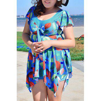Chic Women's Scoop Neck Leaves Print Short Sleeve Swimsuit - 3XL 3XL