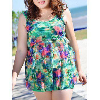 Stylish Women's U-Neck Mosaic Print Swimsuit - GREEN 5XL