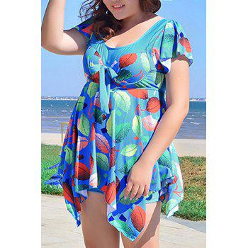 Chic Women's Scoop Neck Leaves Print Short Sleeve Swimsuit - 6XL 6XL