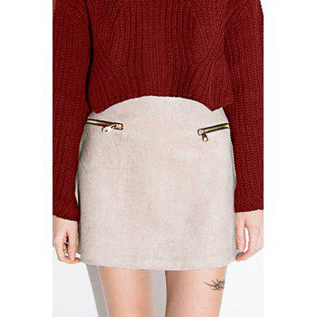 Stylish High-Waist A Line Faux Suede Women's Skirt