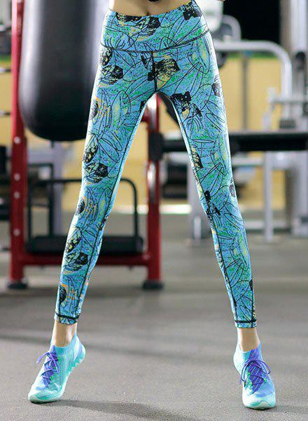 Chic Printed High Stretchy Skinny Women's Ankle Pants - WATER BLUE XL