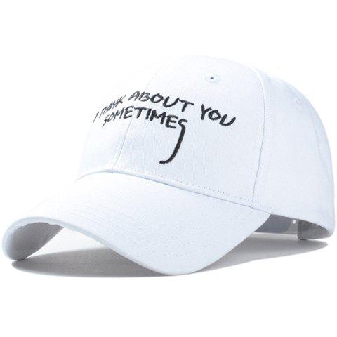 Stylish Hand Painted Capital Letter Embroidery Men's Baseball Cap - WHITE