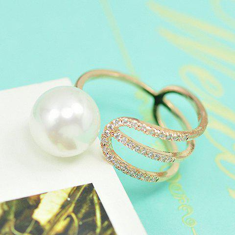 Exquisite Rhinestone Faux Pearl Asymmetric Cuff Ring For Women - CHAMPAGNE GOLD ONE-SIZE